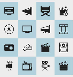 set of 16 editable movie icons includes symbols vector image