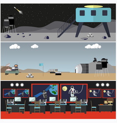 Set of space concept posters flat style vector