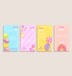 Set of sweet candy bakery shops flyers vector