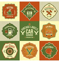 Set of vintage labels auto service vector image