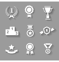 Set of white award success and victory vector image vector image