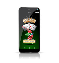 Smartphone offering a casino game online highly vector