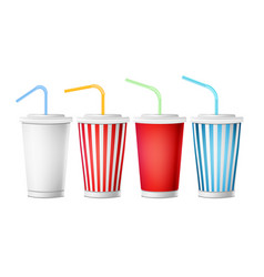 soda cup template 3d realistic paper vector image