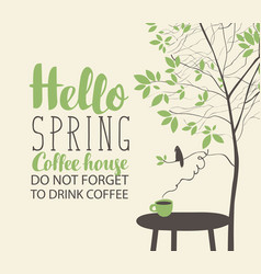 spring landscape on coffee theme with cup on table vector image