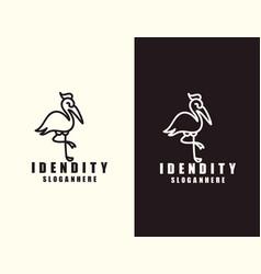 stork logo line art monoline outline vector image