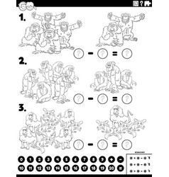 Subtraction educational task with apes vector