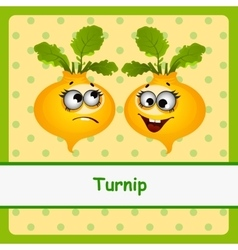 Turnip funny characters on yellow background vector