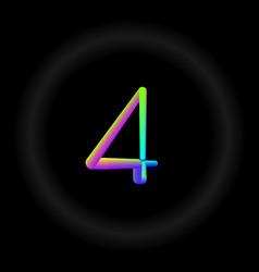 Typo number 4 3d neon fonts modern alphabet vector