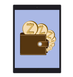 Wallet with zcash coins on a tablet screen vector