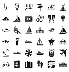 Water in summer icons set simple style vector