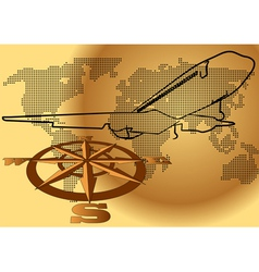 Wind rose and plane vector