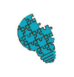 bulb puzzle pieces image vector image