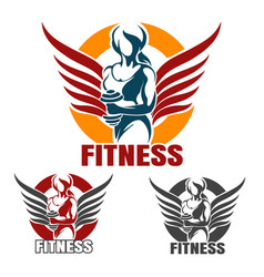 fitness club emblem set with training athletic vector image