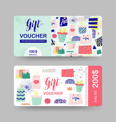 gift voucher templates discount coupon vector image