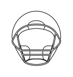 Helmet american football front view outline vector