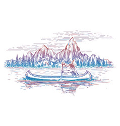 native american in boat landscape vector image