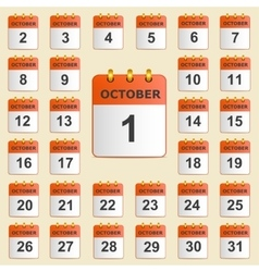 Set of icons for the calendar in October vector image