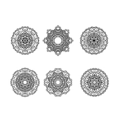 Set of round ornament vector image