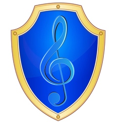 Shield with treble clef 1 vector image
