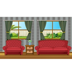 Red sofaset vector image vector image