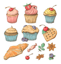 sweet capcake with cream set from cards vector image