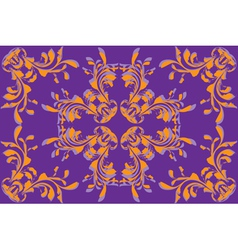Yellow flower pattern on violet background vector image