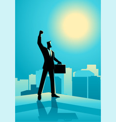businessman standing on the edge of a building vector image vector image
