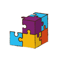 cube puzzle pieces image vector image vector image