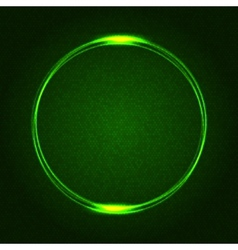 Green Glowing Rings on Dark Dotted Abstract vector image