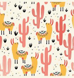 yellow llamas red cacti vector image vector image