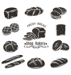 Icons bread and bakery vector image vector image