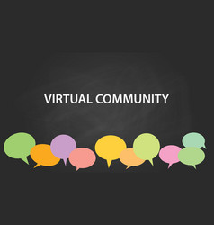 virtual community white text with vector image