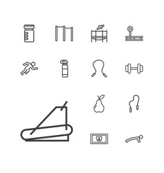 13 fitness icons vector