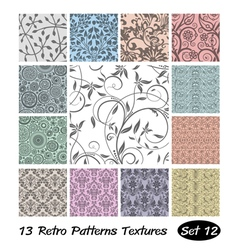 13 Retro Patterns Textures Set 12 vector image