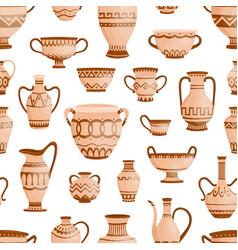 ancient greek clay pots vases and amphoras vector image