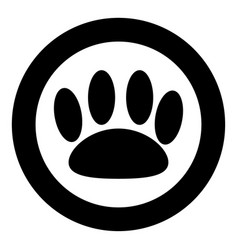 animal footprint the black color icon in circle vector image