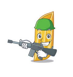 Army penne pasta character cartoon vector