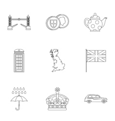 Attractions of United Kingdom icons set vector