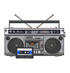 Audio tape recorder ghetto boom box and audiotape vector