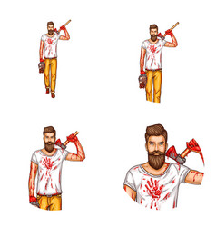 Avatar of a bearded man with a bloody ax vector