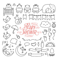 Baby shower related design elements set hand vector