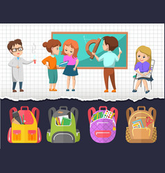 back to school kids students and satchels set vector image