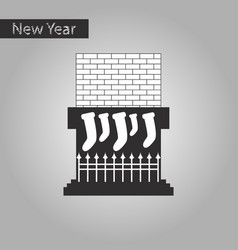 Black and white style icon of fireplace christmas vector
