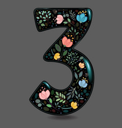 black glared number three with watercolor flowers vector image