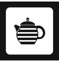 Black kettle with white stripes icon simple style vector image