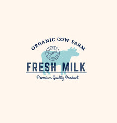 blue cow emblem with text and stamp vector image