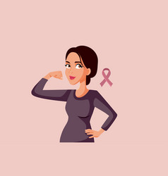 Brave woman standing next to breast cancer vector