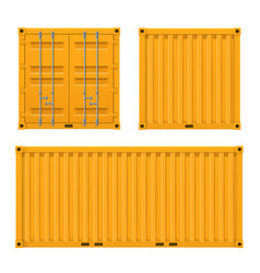 Cargo yellow container for shipping and sea export vector