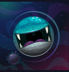 Cartoon fantasy monster planet with giant scary vector