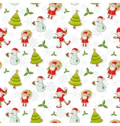 Christmas cartoon characters seamless pattern vector image